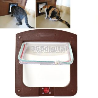 4 Way Locking Pet Cat Kitty Small Dog Doggy Flap Safe Door Tunnel 2 Colors