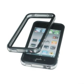 Black Clear Bumper Frame TPU Silicone Case for iPhone 4S CDMA 4G w Side Button