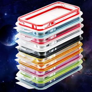 Clear Bumper Frame TPU Silicone Case for iPhone 4 4S 4G w Side Button 10 Colors