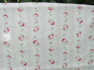 Durham Wallpaper Stripe Red and Pink Roses on Off White 9558 RARE