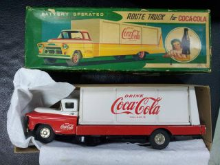Vintage Battery Operated Coke Truck Tin Toy Japan Working