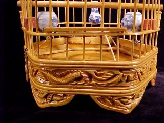 "Handmade Bamboo 11"" Birdcage 6 Sided Hanging Bird House 3 Ceramic Feeding Dishes"