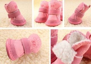Hot Warmer Winter Cozy Pet Dog Boots Puppy Shoes 2 Colors for Small Dog Size 1 5