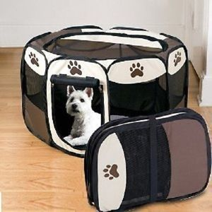 Portable Pet Dog Puppy Playpen Small Size Pen Folding Collapsable Easy Storage