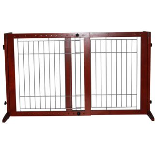 "Adjustable 37"" Wood Pet Barrier Dog Gate Playpen Freestanding Wire Fence Divider"