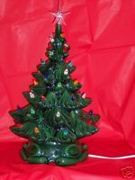 Ceramic Christmas Tree Lights Music Box Vintage Mold