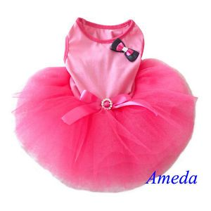 Light Hot Pink Tutu Bow Crystal Belt Small Pet Dog Cat Clothes Dress XS s M L
