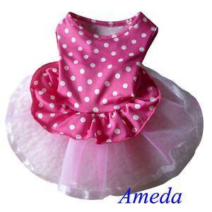 Hot Pink Tutu White Polka Dots Party Dress Small Pet Dog Cat Clothes XS s M L