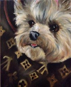 Sparrow Yorkshire Terrier Teacup Puppy Dog Oil Painting Yorkie Designer Carrier