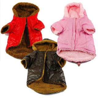 S M L Warm Dog Puppy Coat Clothes Fur Lined Waterproof Hoodie Jacket Pink Red