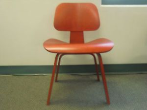 Open Box Herman Miller Eames Molded Plywood Dining Chair Wood Base Red Stain