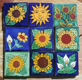 "18 Mexican Talavera Pottery 2"" Clay Tile Hand Painted Wall Folk Art Venice CD"