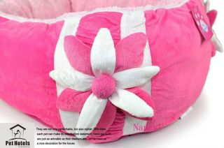 Princess Pink Flower Warm and Soft Pet Dog Cat Bed House Medium Coral Velvet