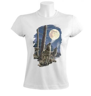 Wolf Pack Women T Shirt Howling Wolves Moon Night Dark Cold Silver White
