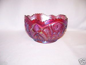 Large Indiana Red Iridescent Carnival Glass Heirloom Bowl
