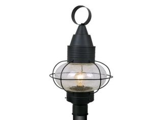 "13"" Onion Black Outdoor Lamp Nautical Post Lighting Vaxcel Chatham OP21835TB"