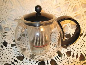 Bodum Art Deco Glass Tea Coffee Pot Teapot Complete with Tea Infuser