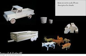 Amish Wood Wooden Toy Farm Pickup Truck Livestock Animal Trailer Toy Hay Set