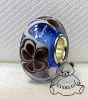 Cocoa Blue European Charm Bauble Lulu Bead Murano Glass Rhodium Flower Purple S