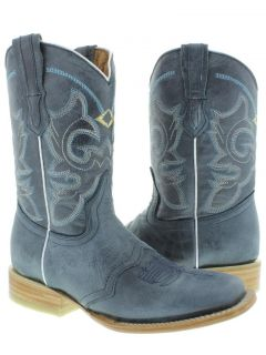 Women's Ladies Blue Leather Roper Square Cowboy Boots Western Rodeo Riding Biker