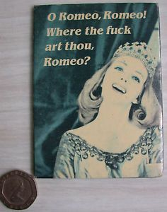 Comedy Fridge Magnet O Romeo WTF Art Thou Novelty Shakespeare Refrigerator