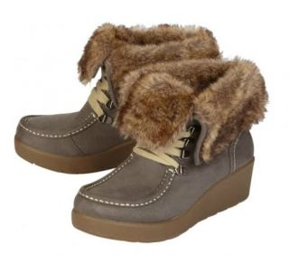 New Girls Faux Fur Cuffed Wedge Boots 13 Toddler Heather Justice $48 00