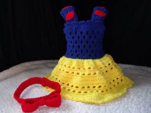Crochet Disney Princess Snow White Baby Dress and Headband