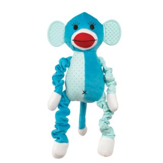 Zanies Funky Monkey Plush Bungee Chew Dog Toy Green