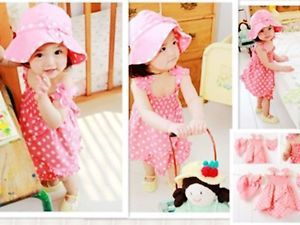 3pcs Kid Infant Baby Girl Dress Pants Hat Set Outfit Costume Clothes 0 36M New