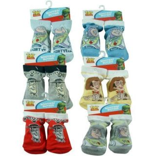Disney Toy Story Buzz Woody Toddler Baby Booties Socks 18 24mo 6 Pair Assort New