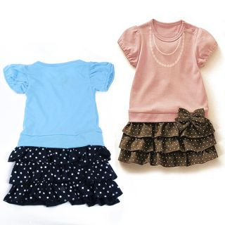 Girls Necklace Pattern Skirt Bow Knot Ruffled Kids One Piece Dress Costume 1 6Y