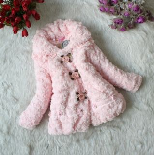 Junoesque Baby Toddler Girl Faux Fur Floral Coat Kids Winter Warm Jacket Costume