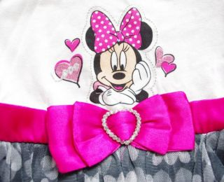 Minnie Mouse Girls Fancy Costume Party Dress Heart Tutu Outfits Shirt Ages 2 4Y