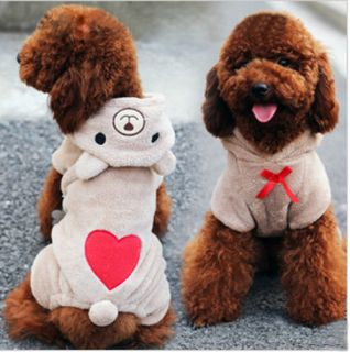 Cute Pet Dog Clothing Soft Fleece Teddy Bear Costume Winter Warm Hoodie Jumpsuit