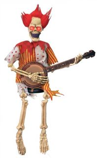 Animated Skeleton Clown Playing Banjo 39 inches Haunted House Halloween Prop