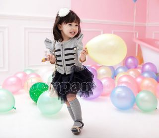 New Kids Girls Party Short Top Coat and Tutu Skirt Outfits Sets Age 2 7Years