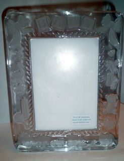 Princess House 24 Lead Crystal Decorated Baby Picture Frame Made Czeck Republic