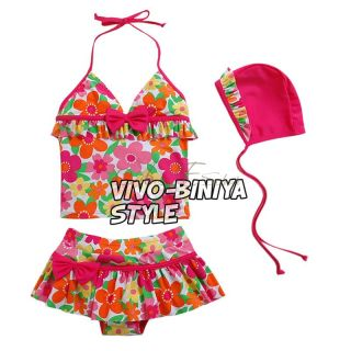 Girls Kid Flower Floral Halter Tankini Swimsuit Swimwear Swimming Costume Sz 5 9