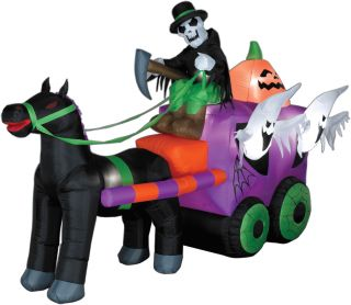 Gemmy Airblown Inflatable Animated Airblown Wild Stage Coach Halloween Prop Yard