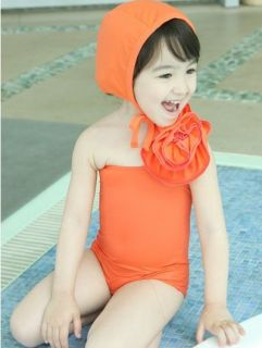 2 Pics Children Girls Purple Flower Swimsuit Swimwear Hat Swimsuit 2 8Y
