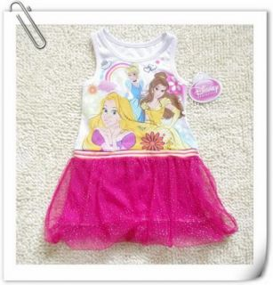 Girl Disney Princess Top Dress T Shirt Party Costume Skirt Tutu Gift SZ1 7Years