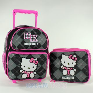 "Sanrio Hello Kitty Black Argyle 12"" Toddler Roller Backpack and Lunch Bag Set"