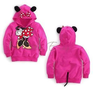 Pink Baby Girls Toddler Minnie Mouse 3D Ear Tail Hooded Tops T Shirt Costume 3T