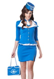 Medium Adult Pinup Girl Halloween Costume Retro Pan Am Flight Attendant
