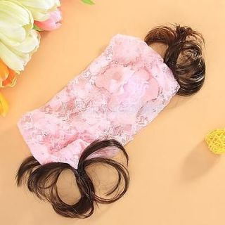 Cute Baby Girl Lace Headband Hair Bow w Ponitail Pink