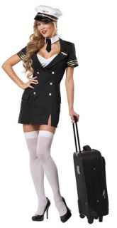Womens Sexy Airline Pilot Halloween Costume
