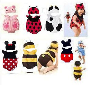 Cute Baby Toddler Animal Design Dressup Bodysuit with Beanie Costume Set