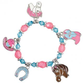 8 Cowgirl Charm Bracelets Western Themed Birthday Party Favors Rodeo Horses Hat