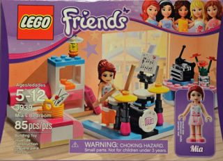 Lego Friends MIA's Bedroom Mini Figure MIA Drum Set Bed Diary 3939 85 Pcs