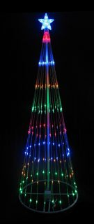 12' Multi Color LED Light Show Cone Christmas Tree Lighted Yard Art Decoration